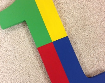 Wooden Number - Primary Colors - Uno - Hand Painted - Custom - Photo Prop