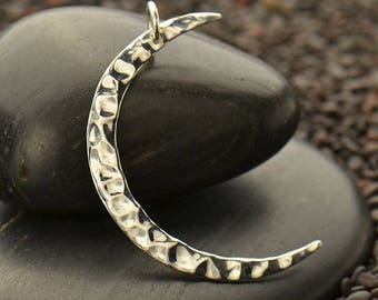 Sterling Silver Large Hammered Crescent Moon Charm