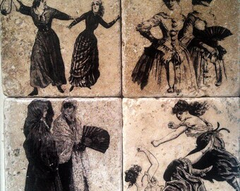 Women In Pairs Marble Tile Coasters - Set of 4