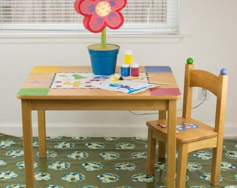 """Splat Mat/Tablecloth """"Olive Meteor Shower"""" - Laminated Cotton BPA  & PVC Free - Choose Your Size below!"""