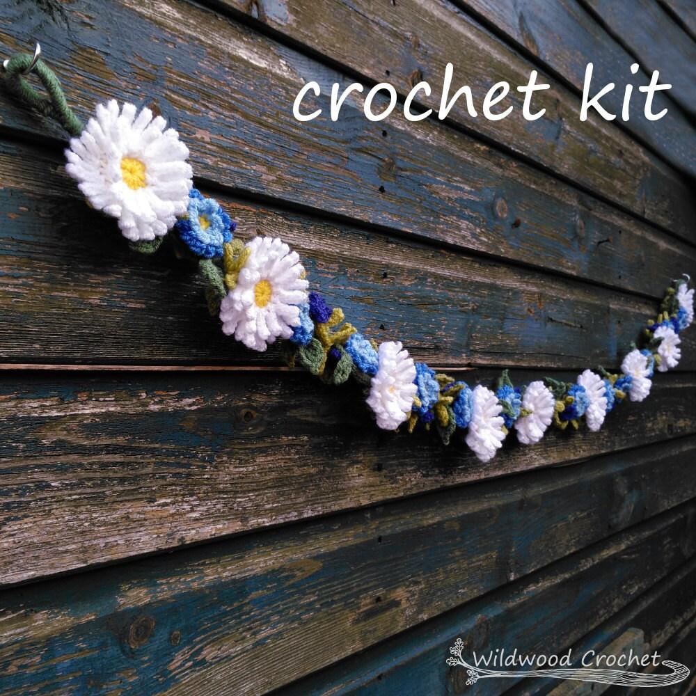 Crochet dcor kit daisy garlandcrochet flower garlandfloral sold by wildwoodcrochetstore izmirmasajfo
