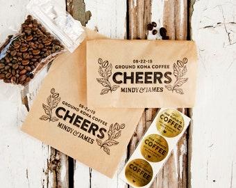 Coffee Favor Bag - Wedding Guest Gift - Cheers, Hand Drawn, Original Design - Personalized coffee wrap - 20 Kraft Wedding Favor Bags