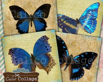 Butterfly Printable Coaster Digital Collage Sheet, Vintage Butterflies, Digital Coasters, Printable Sheet, Decoupage, 4x4 Inch Image