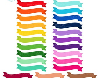 Banners Clipart Set - clip art set of rainbow colored banners, rainbow banner clipart - personal use, small commercial use, instant download