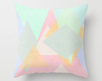 Throw Pillow, Decorative Pillow, Cushion Cover - Abstract Pattern,  Shape Pattern, Block Design, Pastel Colour, Home Decor, Multi-Colour