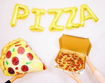 PIZZA balloons- gold mylar foil letter balloon banner kit - Jumbo Pizza Shape