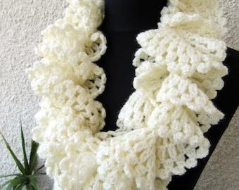 Crochet Scarf PATTERN, Ruffle Scarf Pattern, Crochet Ruffle Scarf, DIY Scarf, Crochet Gift, Lace Scarf, Digital Download, PDF Pattern #97
