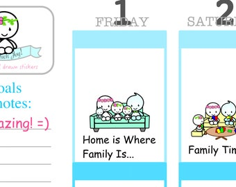 U041-Uteki Family Time Sticker Sheet//Erin Condren, Happy Planner and All Other Planners, Scrapbooking, Crafts