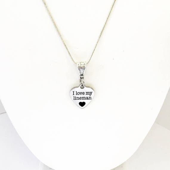 I Love My Lineman Silver Necklace, Lineman Wife Jewelry Gift, Lineman Girlfriend, Thankful for Linemen, Supporting Linemen, Wife of Lineman