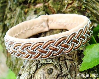 Handcrafted Nordic Viking Cuff Bracelet FREKI Sami Bracelet in Bronze and Natural Leather with Pewter Braid - Personalized Norse Jewelry