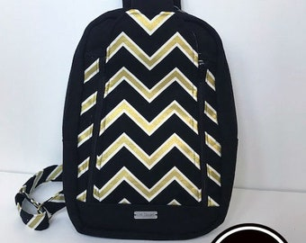 Black and metallic gold chevron sling backpack purse bag