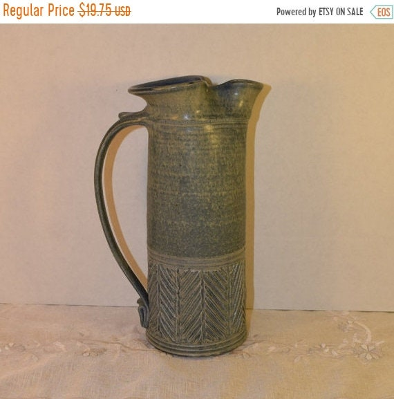 Delayed Shipping Artisan Signed Blue Pottery Pitcher Vintage Stoneware Jug Southwest American Blue Drip Glaze Tall Narrow Pitcher Water Jug