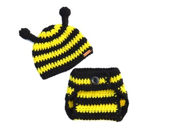 Newborn Photo Prop, Baby Bee Outfit, Bee Costume, Bumble Bee Crochet Set, Hat and Diaper Cover Set, Black and Yellow Knit, Spring Baby Set