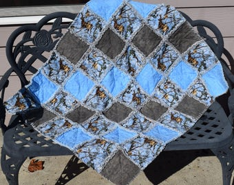 Real Tree Blue Camo Baby Boy Quilt