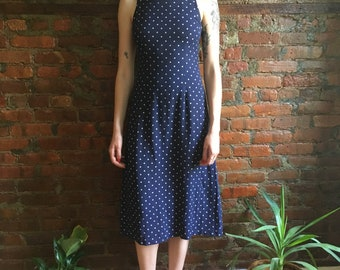 Vintage square neck polka dot midi dress