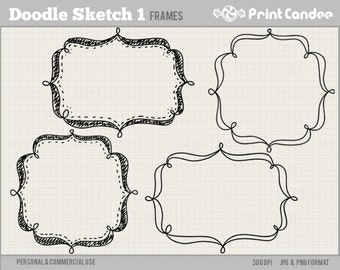 70% OFF SALE! - Doodle Sketch Frames 1 - Personal and Commercial Use - digital clipart frames clip art