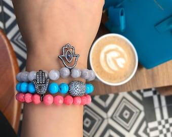 Sterling silver hamsa hand of fatima stretch bracelets with semi precious natural stone beads