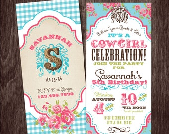 Vintage COWGIRL INVITATION Birthday Party --  PRINTABLE Digital file or personalization for printing