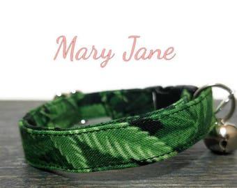 Mary-Jane Cat Collar, Breakaway Collar, Safe Cat Collar, Cat Collars, Kitty Collar, Cat Collar, Green Collar, Personalized Cat Collar