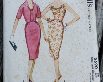 McCall 5690 1950s 50s Wiggle Sheath Dress Vintage Sewing Pattern Size 12 Bust 32