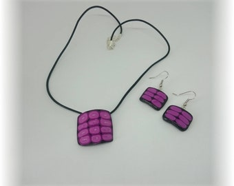 Composition black and purple - corn of the earrings and necklace set
