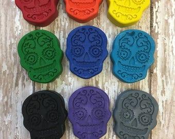9 Sugar Skull Day Of The Dead Día de Muertos  Crayons - Halloween Party Favors - Disney Coco Party - Teacher Supply