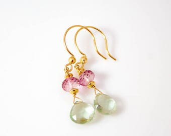 Green amethyst and pink topaz drop earrings with gold filled ear wires.    ~1 5/8 inches long.