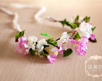 Ivory and Pink Floral Crown. Maternity Wreath, Bridal Halo, Photography Prop, Adult Flower Headband, Photo Prop, Statement Vine Hair Piece