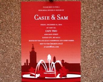 Set of 25 / Custom Kansas City Plaza Wedding Invitation / Event RSVP Card / Skyline / Country Club Plaza