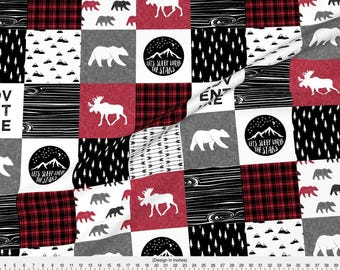 Red Cheater Quilt Fabric - Happy Camper   Wholecloth Quilt Top- Lumberjack Collection By Littlearrowdesign- Baby Boy Fabric With Spoonflower