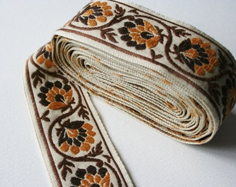 Vintage Trim Retro Orange Brown 1970s Geometric Floral 4 Meters