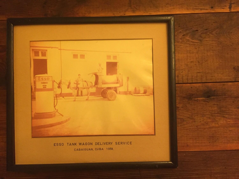 Vintage Esso Gas Station Framed Photograph 1958 Cabaiguan Cuba