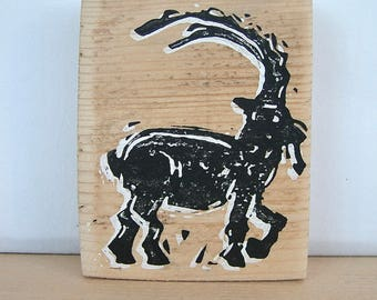 Capricorn, picture, Old wood, block print, Alpine
