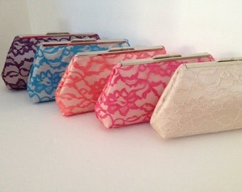 Individual Lace Overlay Clutch Purse (Your Choice of Color)