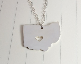 Ohio State Charm Necklace,Silver Ohio State Necklace,OH State Necklace,State Shaped Necklace  With A Heart