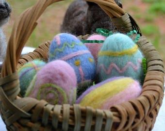 Needle Felted Easter Eggs in a Vintage Handmade Basket