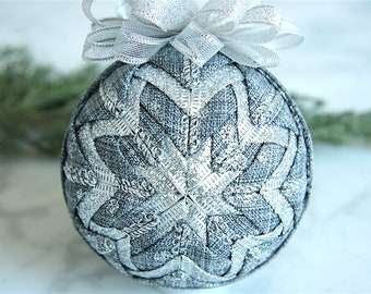 Handmade Quilted Ornament-Gray-Silver-Sterling Splendor