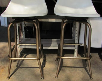 Pair Of Mid Century Modern Fibreglass Swivel Bar Stools
