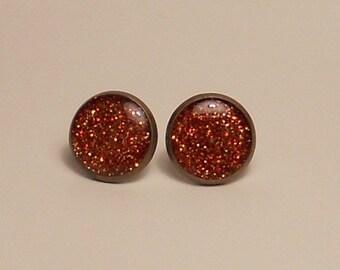 Burnt Orange Glitter 12mm Post Earrings