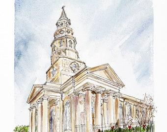 St Philips' Church in winter skies, Church Street Charleston.  Print from an original watercolor.