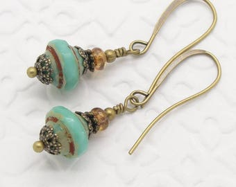 Turquoise Blue Green Earrings in the Vintage Inspired Style with Saturn Beads