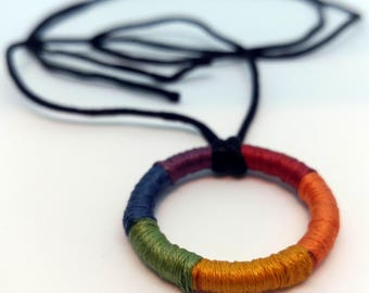 Rainbow Pride Circle Wrapped Necklace Pendant Charm