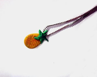 Polymer Clay Pineapple Pendant, Polymer Clay Pineapple Fruit Jewellery, Polymer Clay Food Pendant,  Kawaii Unique Colourful Pendant