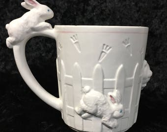 Ceramic 3-D Bunny Rabbit and Picket Fence Cup