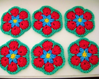 Crochet Flower Coasters-Set of 6-African Flower Coaster Set-Crochet Coaster Set-Flower Coaster Set--Coaster Set-Crochet Coasters