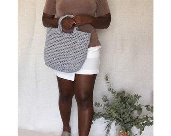 Gray Crochet Tote