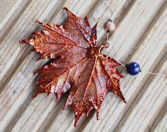 Real leaf necklace - Maple leaf in iridescent Copper with Lapis Lazuli coloured beads.