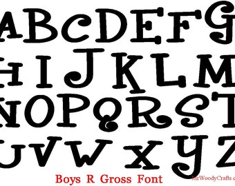 "12"" Unfinished Wooden Letters, Fonts Curlz,Boys R Gross,Crazy Harold,Delta Hey,Georgia 1-13A A    -4"