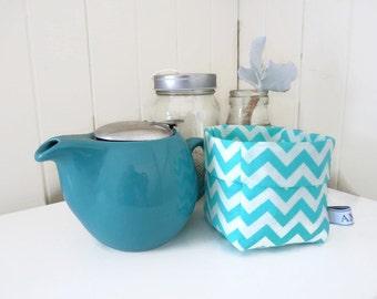 SewAme Mini Linen Fabric Bin or Basket in Aqua and White Chevron.  Fun fabric bucket for Bathroom Storage, Stationary Storage !