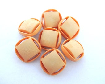 6 Vintage plastic buttons square shape beautiful light orange 19mm